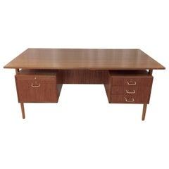 Teak and Oak Floating Top Executive Desk by Torben Strandgaard