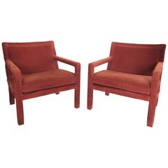 1970s Carmine-Orange Corduroy Armchairs in the Style of Milo Baughman