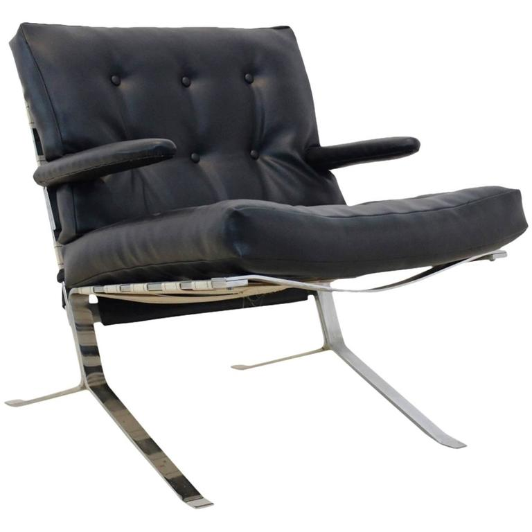 Groovy Mid Century Low Back Lounge Chair In Chrome Belgium Theyellowbook Wood Chair Design Ideas Theyellowbookinfo