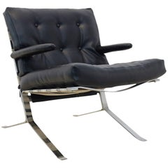 Mid Century Low-Back Lounge Chair in Chrome, Belgium