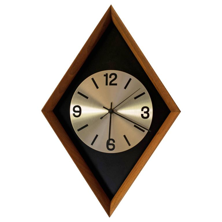 mid century modern walnut clock for sale at 1stdibs