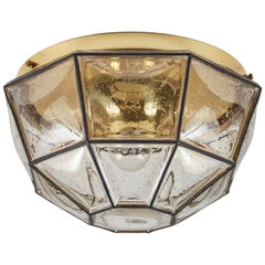 Iron and Glass Octagon Flush Mount