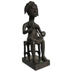 Ashanti Mother and Child Maternity Figure Carved by Osei Bonsu, Ghana