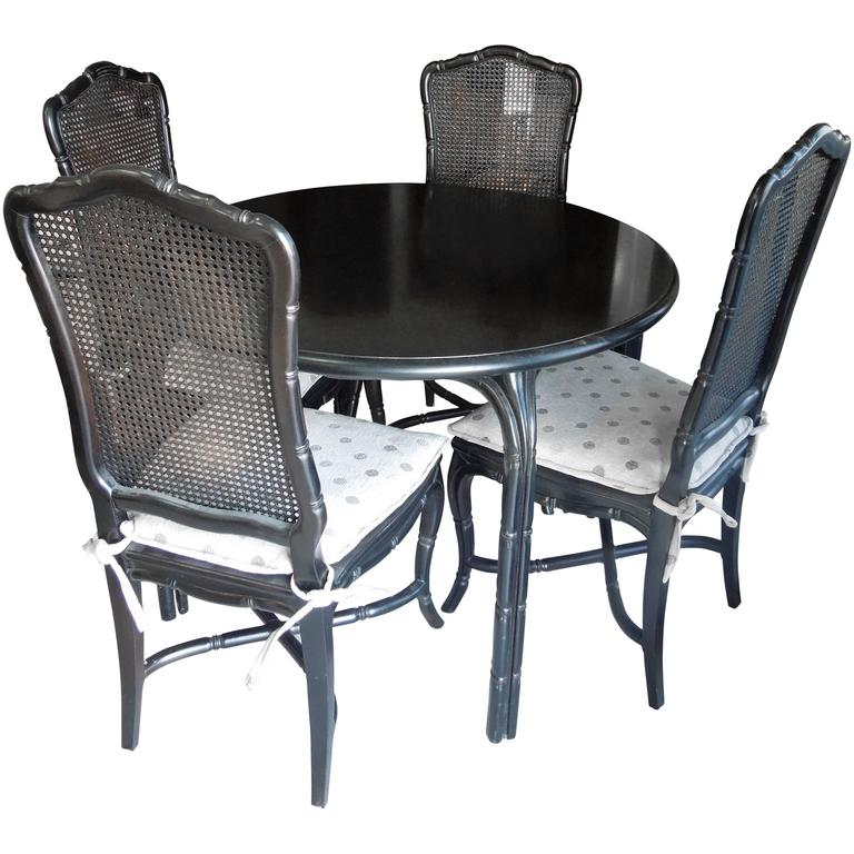 Vintage Hollywood Regency Black Round Dining or Game Table and Four Chairs Set