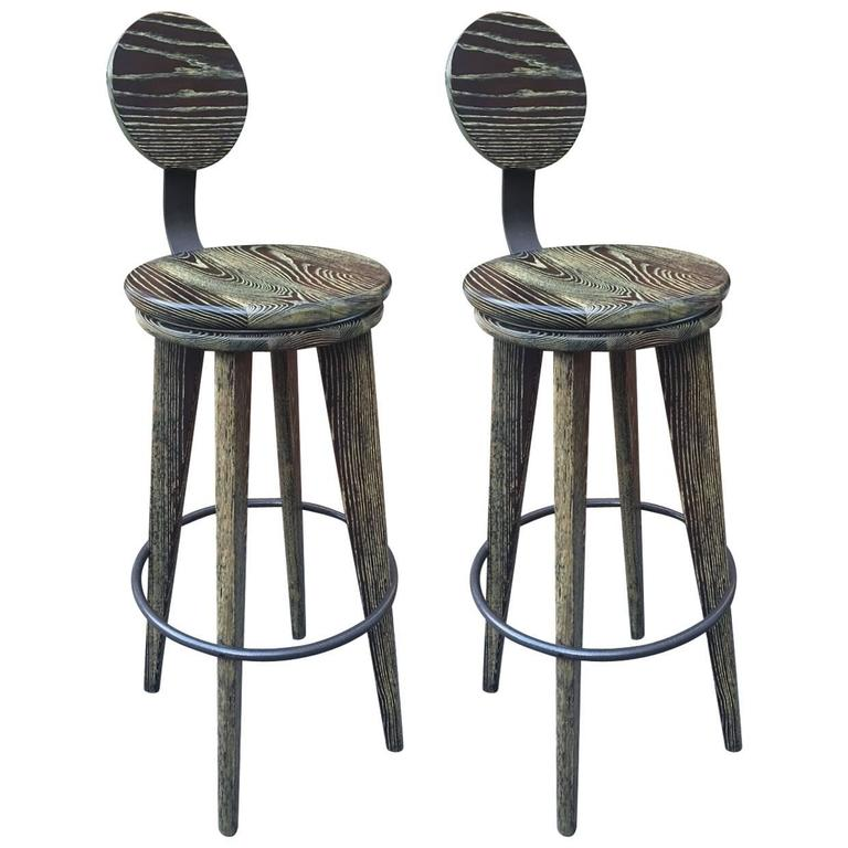 Pair of Modern Cerused Oak Stools 1
