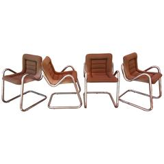 Chrome Cantilevered Dining Chairs Style of Jerry Johnson
