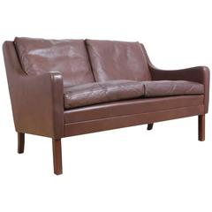 Danish Leather Two-Seat Sofa with Rosewood Legs, circa 1960