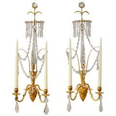 Pair of Swedish Gilt Bronze and Crystal Wall Lights, Late 18th Century
