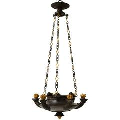Patinated and Gilt Bronze Empire Chandelier