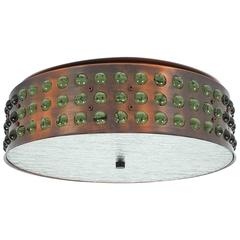 Large Bronze and Glass Flush Mount in the Style of Limburg, 1970