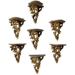 Set of Seven Finely Carved Wall Brackets