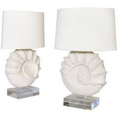 Pair of Emilia Palomba Ceramic Shell Lamps, circa 2000, France