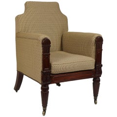 George III English Regency Mahogany Bergere or Armchair, circa 1815