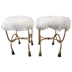 Stunning Pair of Gilded Mongolian Lamb Rope Tassel Stools Bench