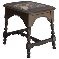 1920s Tile Top Table with Colorful Parrot Design