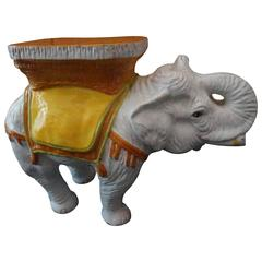 Whimsical and Fun Terra Cotta Glazed Elephant Side or End Table
