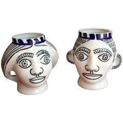 Pair of Man and Woman Porcelain Cebezas by Sargadelos, Madrid