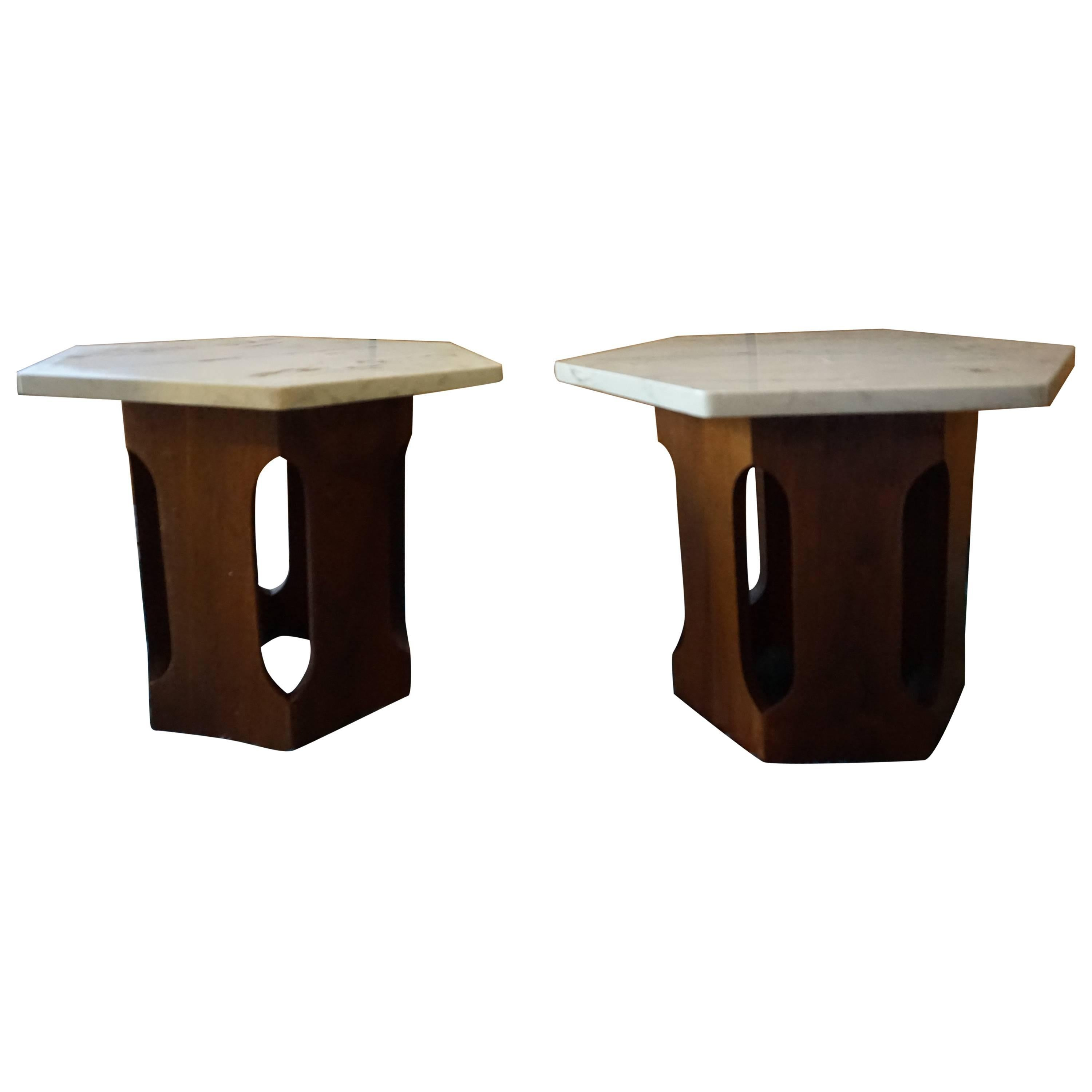 Petite Harvey Probber Style Mahogany Faux Marble End Side Tables, Mid-Cen Modern