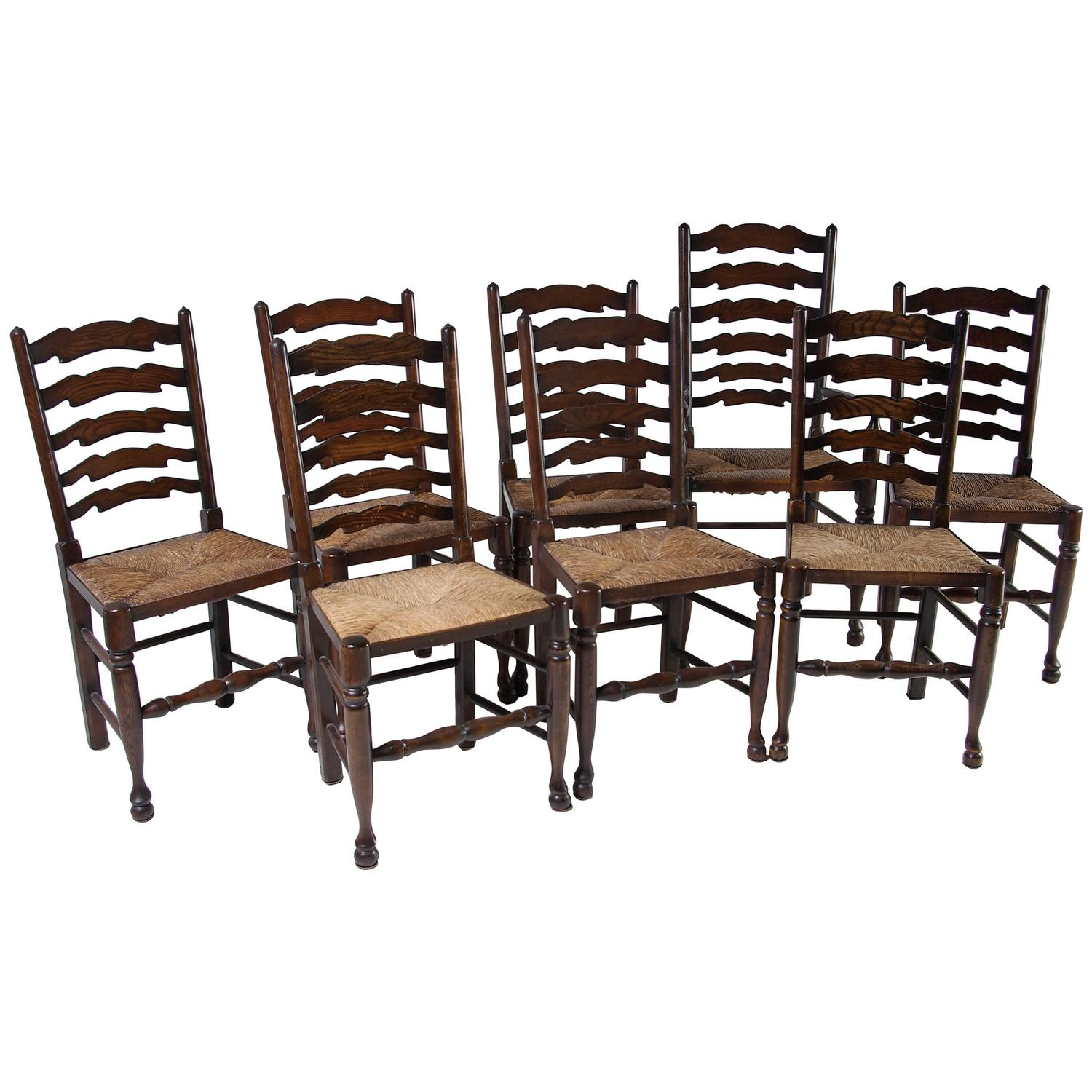 Set of eight antique ladder back oak dining chairs all with rush seats at 1stdibs - Ladder back dining room chairs ...