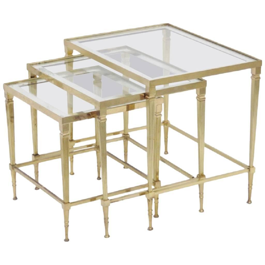 Set of directoire style glass top nesting tables for sale for Glass top nesting tables