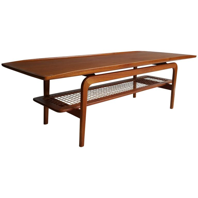 Danish Teak and Cane Coffee Table, circa 1960, Arne Hovmand-Olsen