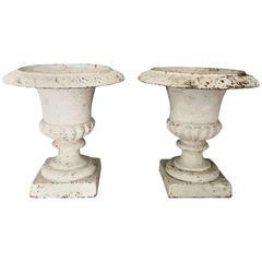 Antique Pair of Classical Cast Iron Urns