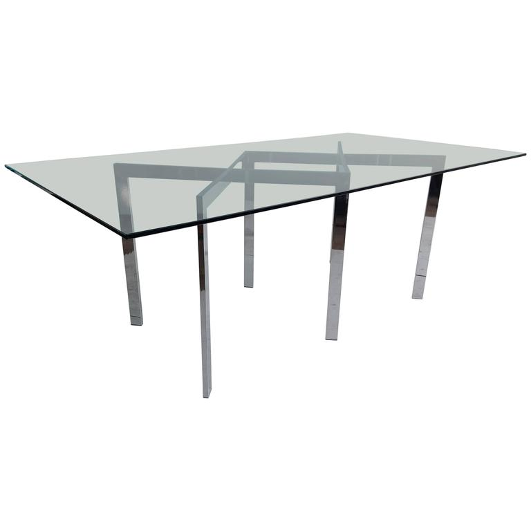Milo Baughman, Thayer Coggin Chrome X Base and Glass Dining Table