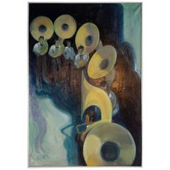 "Modernist Oil on Canvas ""Six Tubas"", James Miller, American, circa 1960-82"