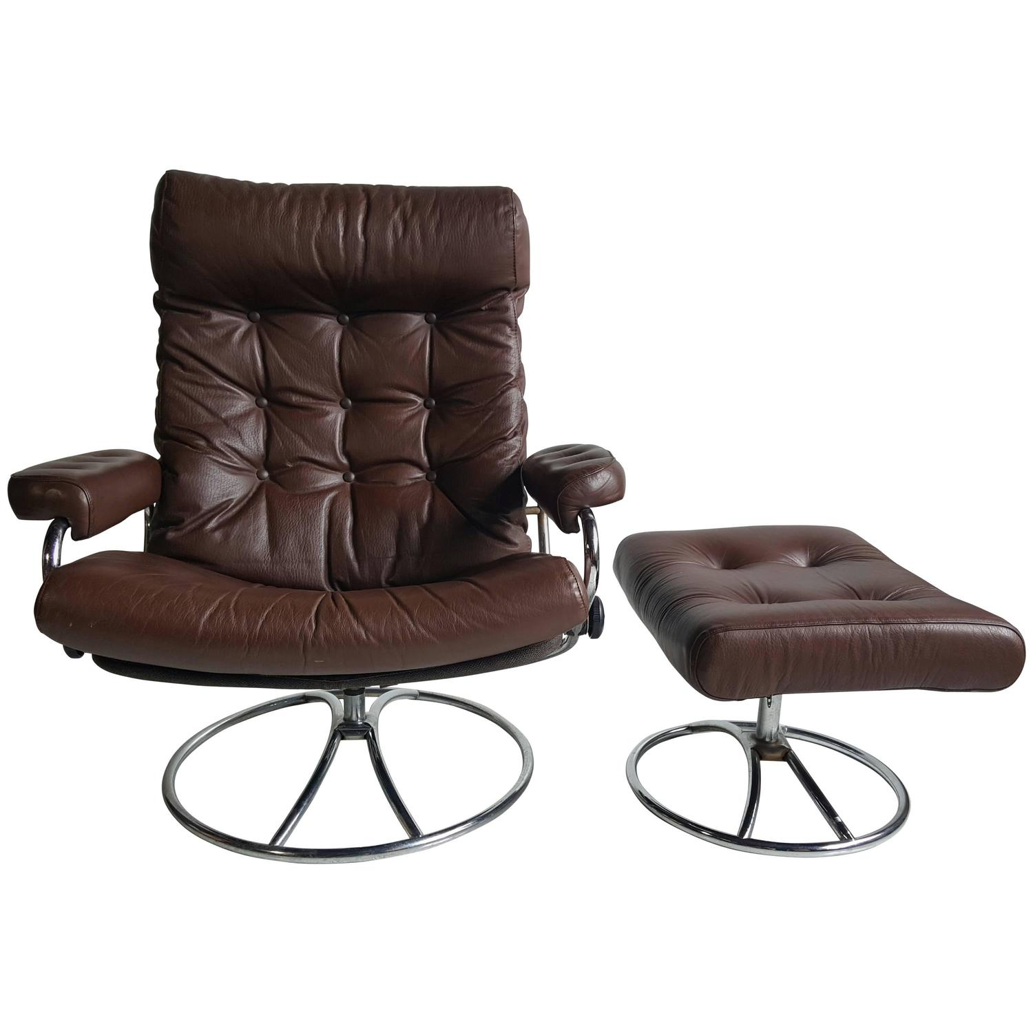 Brown Leather Ekornes Stressless Lounge With Ottoman, 1960 At 1stdibs