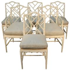Chippendale Style Set of Six Faux Bamboo Chairs