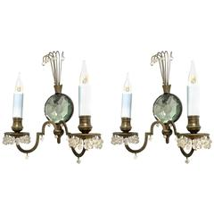 Superb Little Pair of Sconce with a Polarized Glass Center and Rock Crystal Perl