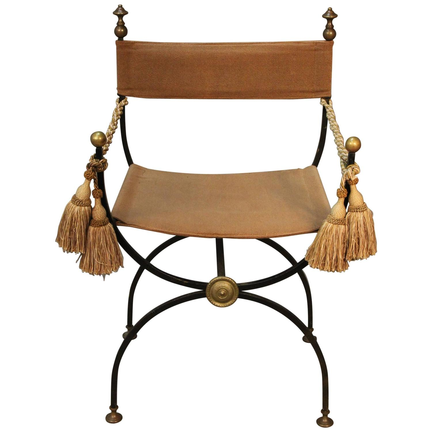 Savonarola Chair Iron With Brass Finials For Sale At 1stdibs