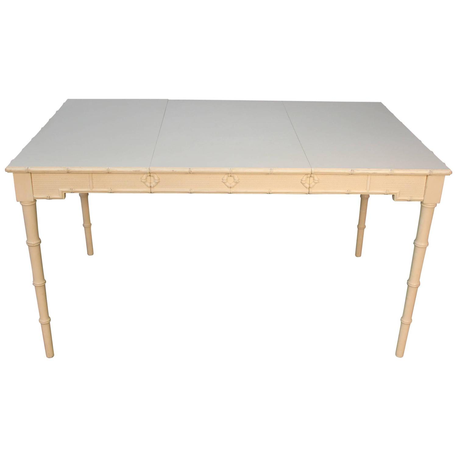 Chippendale style painted dining table with faux bamboo for Styling a dining table