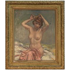 Art Deco Painting, Nude with Rose Drapery