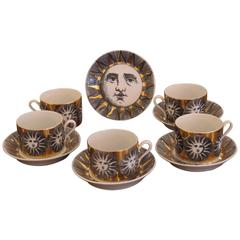 Set of Five Cups and Saucers by Fornasetti