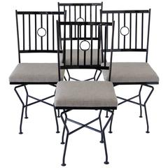 Set of Four Swivel Wrought Iron Patio Dining Chairs