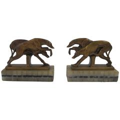 Vintage Art Deco Greyhound Dog Bookends on Black and White Marble Bases, 1920s
