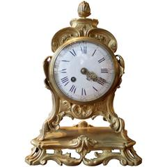 19th Century French Gilt Bronze Mantel Clock in Louis XV Style