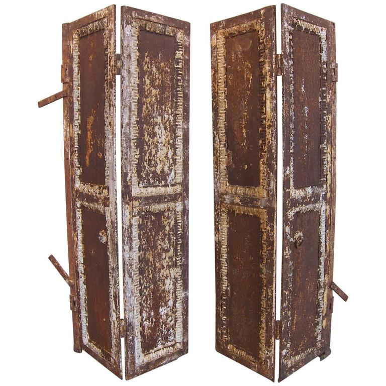 Pair of Antique Industrial Neoclassical Greek Key Cast Iron Doors Window Shutter 1