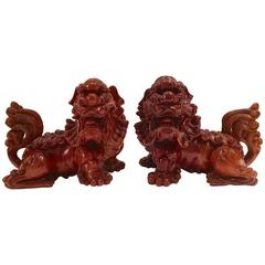 19th Century Chinese Carved Wood Foo Dog Pair
