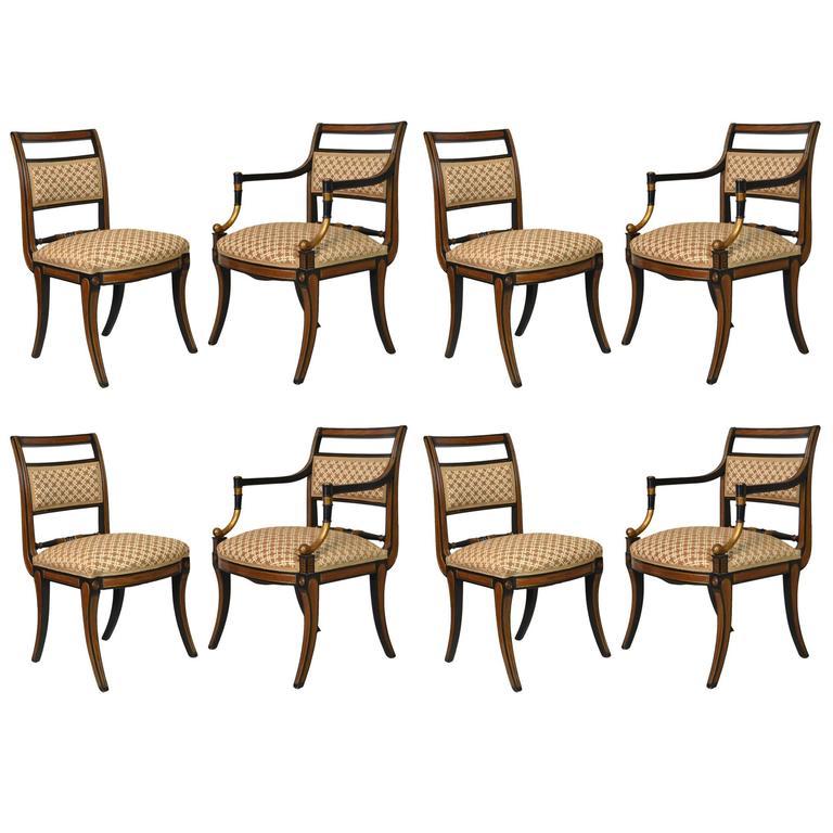 Set of Eight Regency Style Dining Chairs, Parish Hadley, circa 1976
