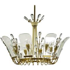 Mid-Century Modern Italian Chandelier in the Manner of Crystal Arte