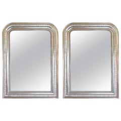 Near Pair of Silver Louis Phillippe Mirrors