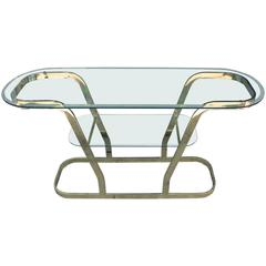 Glamorous Brass and Glass Two Tiered Oval Modern Console or Entry Table