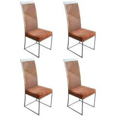 Set of Four Milo Baughman Chrome and Cane Modern Dining Chairs with Chenille