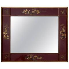 1950 Framed Mirror China Lacquered Characters
