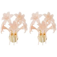Set of Two Murano Glass Flower Wall Sconces by Franco Luce (Attr.), Italy, 1970s