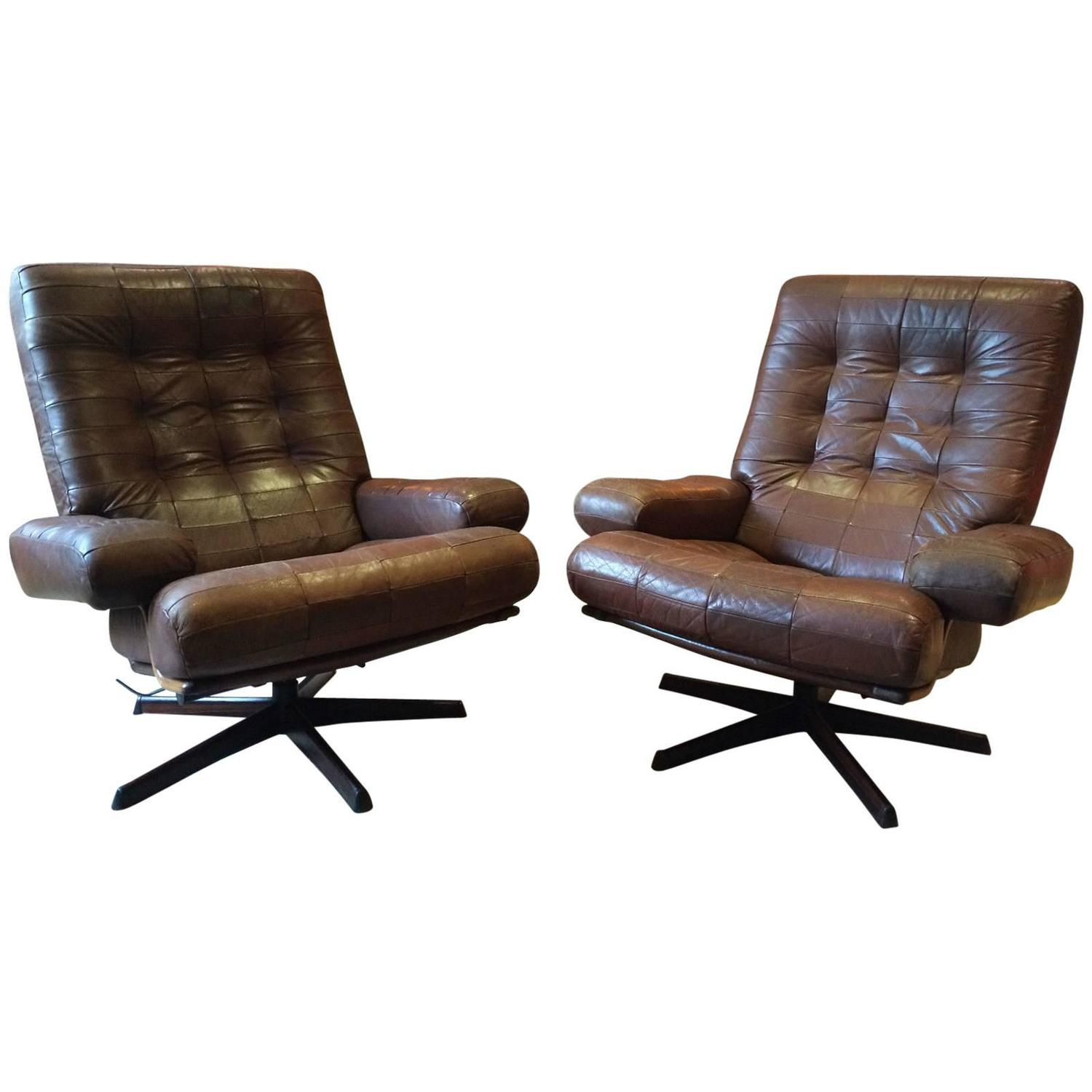 Very comfortable pair of 1950s french reclining leather armchairs - Vintage Swedish Armchairs Pair Leather Gote Mobler Nassjo Mobel 1970s At 1stdibs