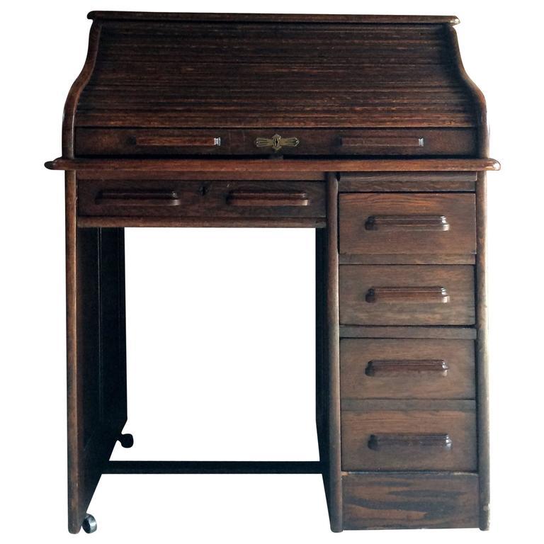 Antique Roll Top Desk Oak Writing Edwardian For