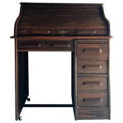 Antique Roll Top Desk Oak Writing Desk Edwardian